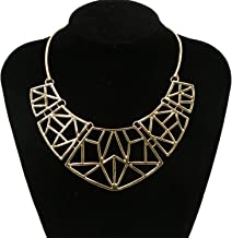 JETEHO Women Cutout Geo Choker Necklace Big Bib Statement Choker Necklace(Gold, 12.5