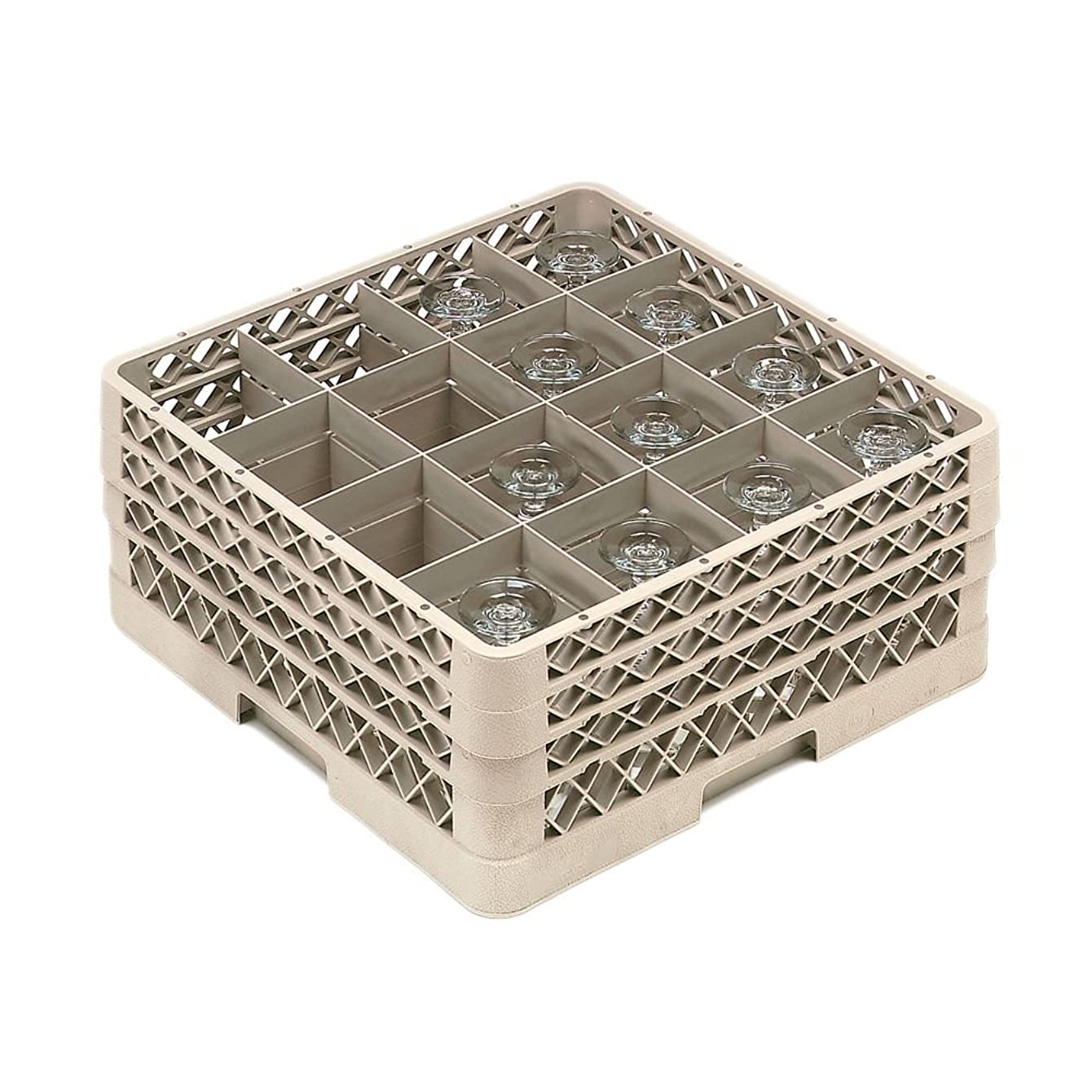 Vollrath Traex (TR8DDD) Full Size Glass and Stemware Rack (16-Compartment, Beige)