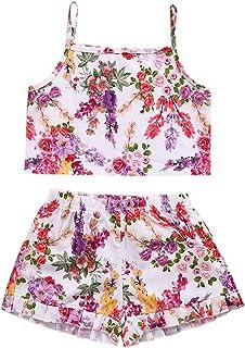 2pcs niños bebé niñas Floral Ropa Ropa Crop Tank Tops + Pantalones Cortos Bloomer sunsuit Set