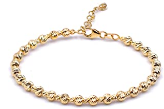 Bracciale donna in oro giallo, con palline. Tutto oro 14K, peso gr 5.5