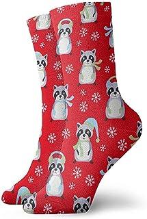 Dydan Tne, Calcetines de Navidad de mapaches Rojos Calcetines Divertidos Calcetines Locos Calcetines Casuales para niñas Niños
