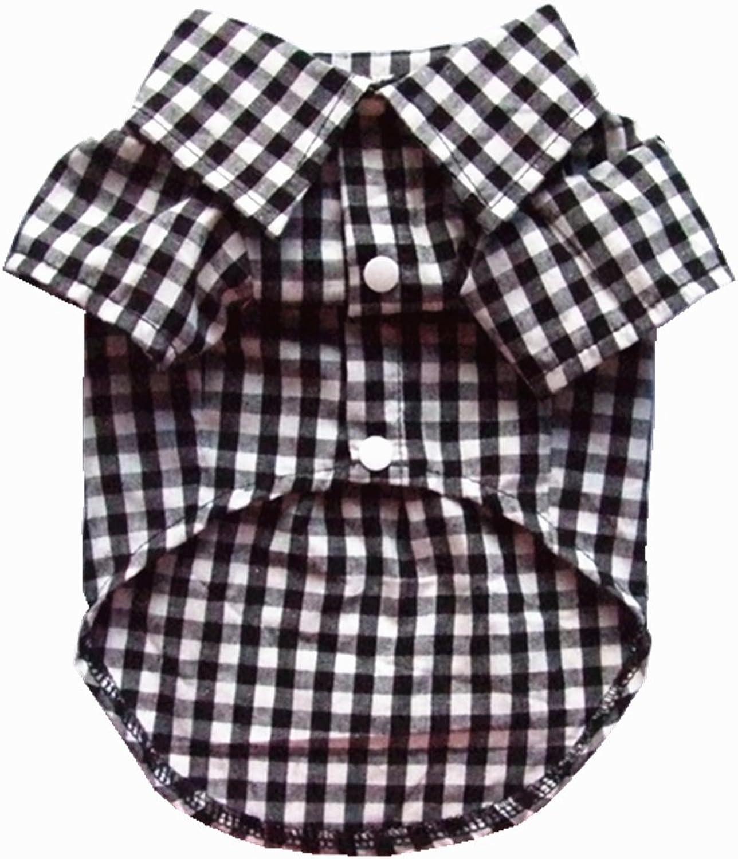 HOODDEAL Soft Casual Dog White and Black Plaid Shirt Gentle Dog Western Shirt Dog Clothes Dog Cotton Shirt + Dog Wedding Tie (XLarge)