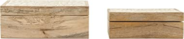 Creative Co-op Handcarved & Whitewashed Mango Wood Boxes (Set of 2 Sizes) Misc Non-Food Storage, White