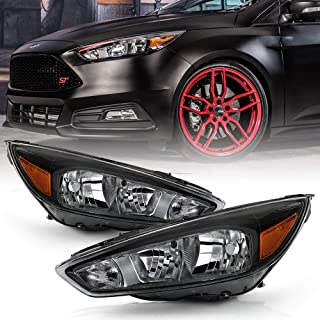 ACANII - For 2015-2018 Ford Focus Black Housing w/o Facotry LED DRL Halogen Headlights Headlamps Assembly Left+Right