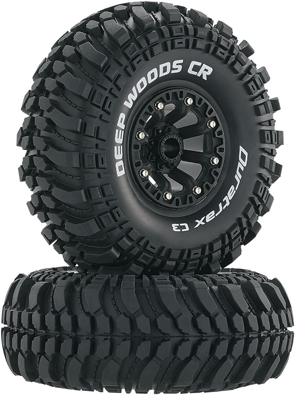 Duratrax Deep Woods 2.2  RC Rock Crawler Tires with Foam Inserts, High Traction, Mounted on Black Wheels, (Set of 2)