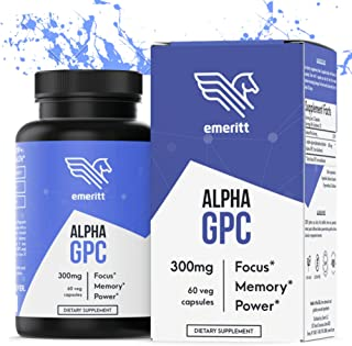 Alpha GPC Premium Choline Supplement | Brain Nootropic from Pure Sunflower Lecithin for Brain Support, Enhanced Focus and Memory | Vegan, Non GMO, No Soy, Pharmaceutical Grade | 600 mg 30 Servings