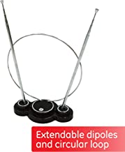 GE Traditional Rabbit Ears Indoor Black TV Antenna, 15 inch Extendable Dipoles and..