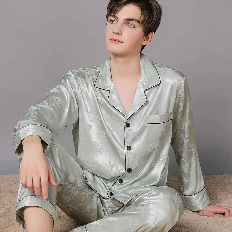 HONGJIU Mens Silk Satin Pajamas Set Long Sleeve and Long Trousers Sleepwear Suits Loungewear (Color : 6, Size : XXXL(90-100kg))