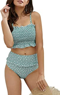 Women's Floral Printed Ruffle High Waisted Bikini Set Pleated Bandeau Two Pieces Bathing Suits