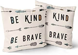 Granbey Inspirational Quote 2 Pcs Decorative Throw Pillow Case - Be Kind Be Brave - with Geometry Arrow Throw Pillow Cover...