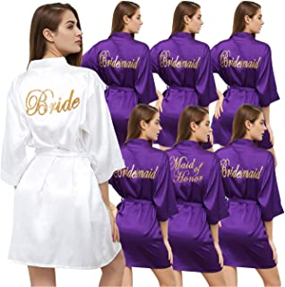Set of 7 Women's Satin Silk-Like Kimono Robes for Bride Bridesmaid Gold Glitter Wedding Party Maid of Honor Robes