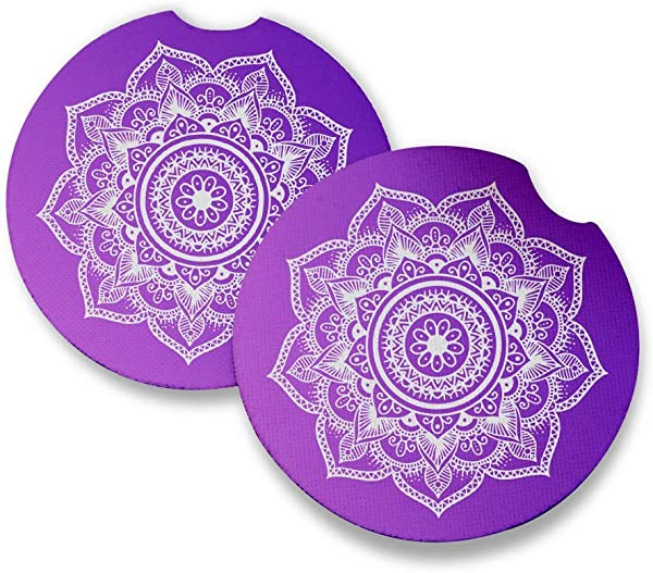 Purple Mandala Car Coasters For Drinks Set Of 2 Perfect Car Accessories With Absorbent Coasters Car Coaster Measures 2 56 Inches With Rubber Backing