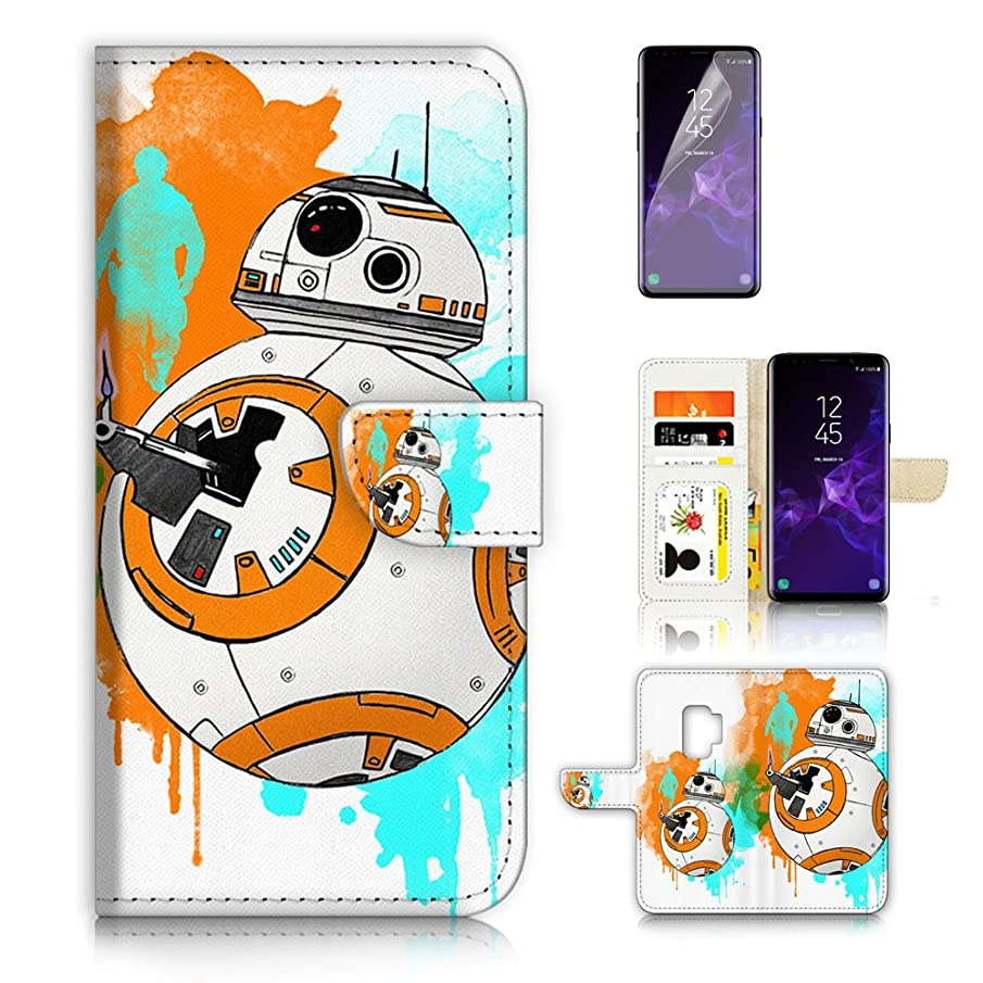 ( For Samsung S9+ / Galaxy S9 Plus ) Flip Wallet Case Cover & Screen Protector Bundle - A9366 Starwars BB8