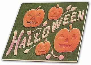 3dRose ct_6045_1 Vintage Halloween Jack O Lanterns Ceramic Tile, 4-Inch