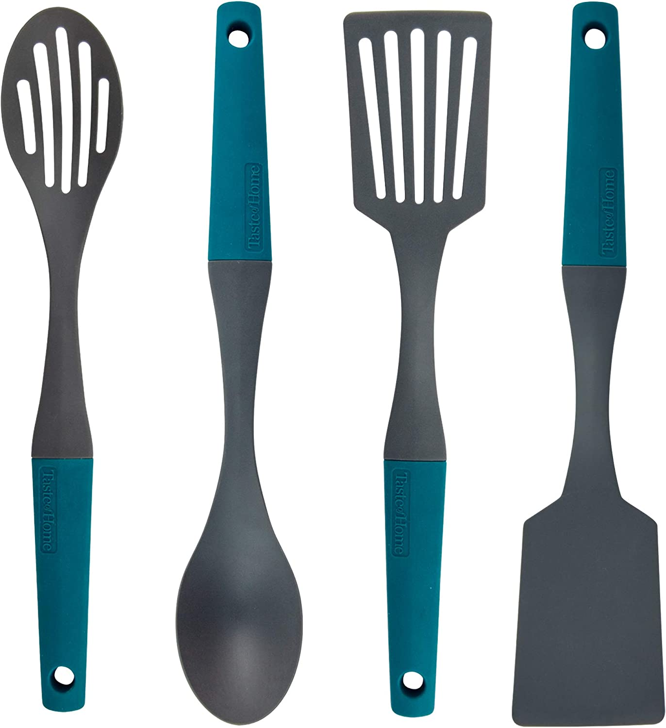 Taste of Home Essential 4 Piece Nylon Kitchen Utensil Set for Nonstick Cookware in Sea Green and Ash Gray