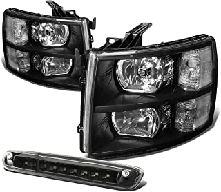 For Silverado GMT900 Pair of Black Housing Clear Corner Headlight+LED 3rd Brake Light