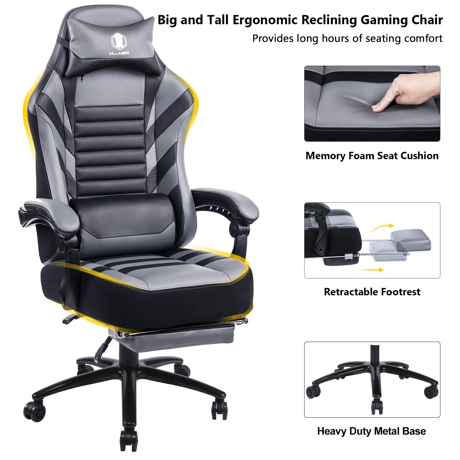 Back Angle and 3D Wide Arms Ergonomic High-Back Leather Racing Executive Metal Base Computer Desk Office Racing Chair Adjustable Tilt Heavy Duty 400LB Memory Foam Large Gaming Chair