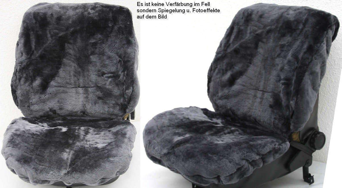 Rökü 2x Luxus Lammfell Sitzbezug Dicht Dick Passend Camel Auto