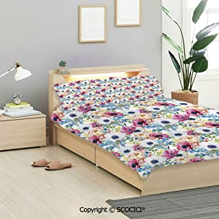 SCOCICI Watercolor Bedding Sets (1 Duvet Cover 2 Pillow Shams) Vintage Colorful Anemone and Forget Me Not Flowers Romantic Mimosa Peony Art Decorative Duvet Cover Sets Kids/Twin/Single All Seasons