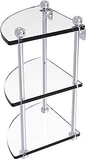 Allied Brass PR-6 Three Tier Corner Glass Shelf, Satin Chrome