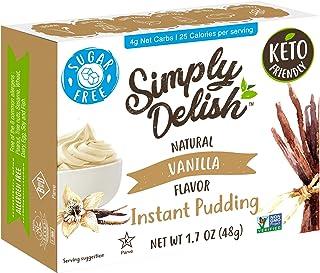 Simply Delish Natural Instant Vanilla Pudding - Sugar Free, Non GMO, Gluten Free, Fat Free, Vegan, Keto Friendly - 1.7 OZ ...