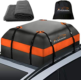 Best Fivklemnz Car Roof Bag Cargo Carrier, 15 Cubic Feet Waterproof Rooftop Cargo Carrier with Anti-Slip Mat + 8 Reinforced Straps + 4 Door Hooks Suitable for All Vehicle with/Without Rack Review