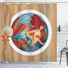 Ambesonne Mermaid Decor Collection, Mermaid in Porthole Window Aquatic Cockleshell Mythology Yacht Nautical Image, Polyester Fabric Bathroom Shower Curtain Set with Hooks, Cream Teal Sienna