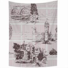 Ahawoso Tapestry 50x60 Inch Toile Pattern Castle Landscape Castles Grid Fort De Abstract Jouy Ancient Antique Architecture Artistic Bridge Tapestries Wall Hanging Home Decor Living Room Bedroom Dorm