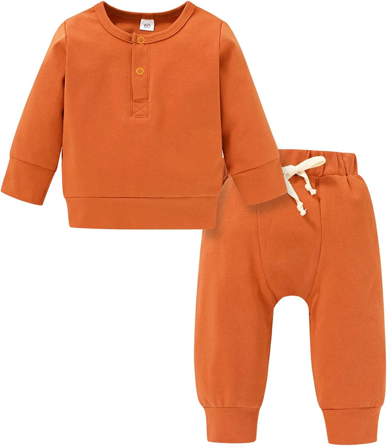 Newborn Unisex Baby Boy Girl Fall Winter Clothes Set Long Sleeve Solid Color Outfit Fall Winter 2pc Set