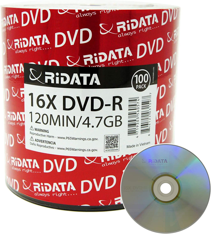 Max 89% OFF Very popular 100 Pack Ridata DVD-R 16X 4.7GB 120 Logo Min Blank Silver Top Da
