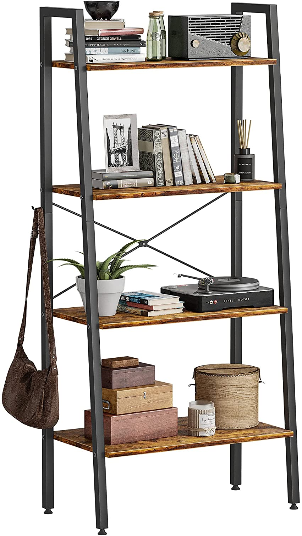 CubiCubi Ladder Shelf, 4-Tier Bookshelf, Storage Rack Shelves, Plant Flower Stand, Multipurpose Organizer Rack, Industrial Metal Frame Furniture Rustic Brown with 2 Hooks