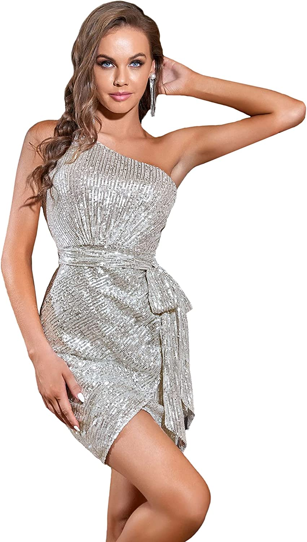 Alisapan Women's Sparkle Sequins One Shoulder Belted Wrap Dress Bodycon Wedding Guest Dress 0285