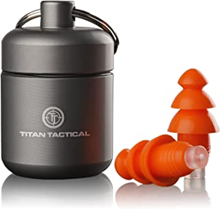 Titan Tactical 29NRR Reusable Shooting Ear Plugs w/Removable Noise Filter + Heavy Duty Aluminum Case (for Normal + Small E...