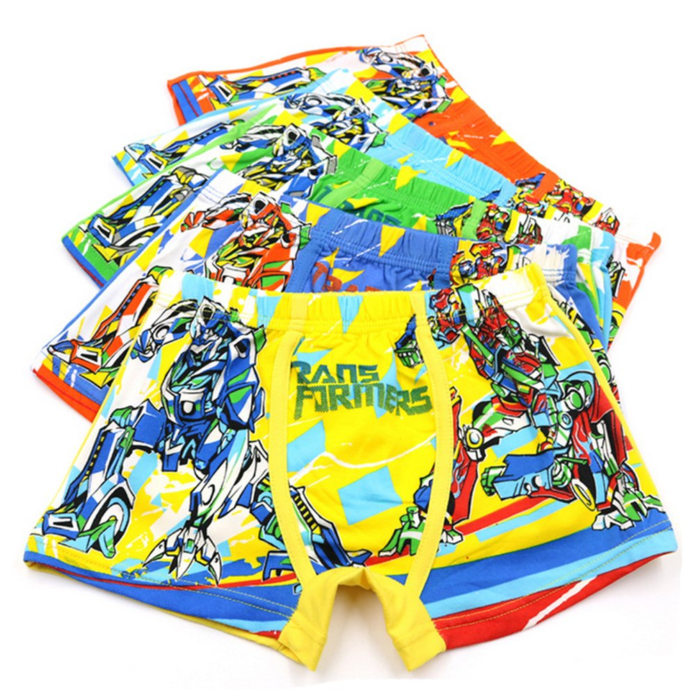 2-8 Years Boys Character Transformers Print Underwear Cool Shorty Boxer Briefs 5 Pack