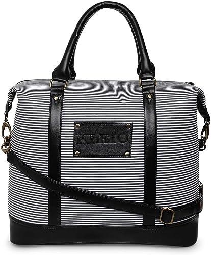 Unisex Striped PU Leather Large Weekend Travel Multi Utility Duffle Bag For Men Women Girls HO7004KL BL Black