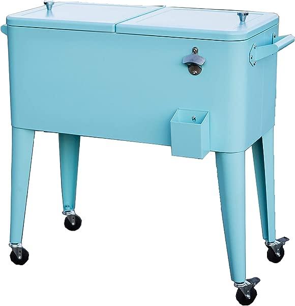 Permasteel PS 203 TURQ AM 80 Quart Portable Rolling Patio Cooler Turquoise