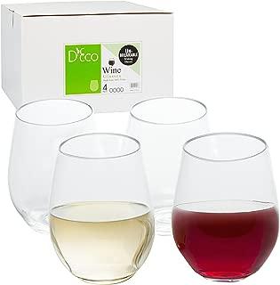 Unbreakable Stemless Wine Glasses 18oz - 100% Tritan - Shatterproof, Reusable, Dishwasher Safe (Set of 4 Stemless)