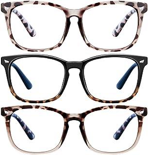 Blue Light Blocking Glasses - 3Pack Computer Game Glasses Square Eyeglasses Frame, Blue Light Blocker Glasses for Women Me...