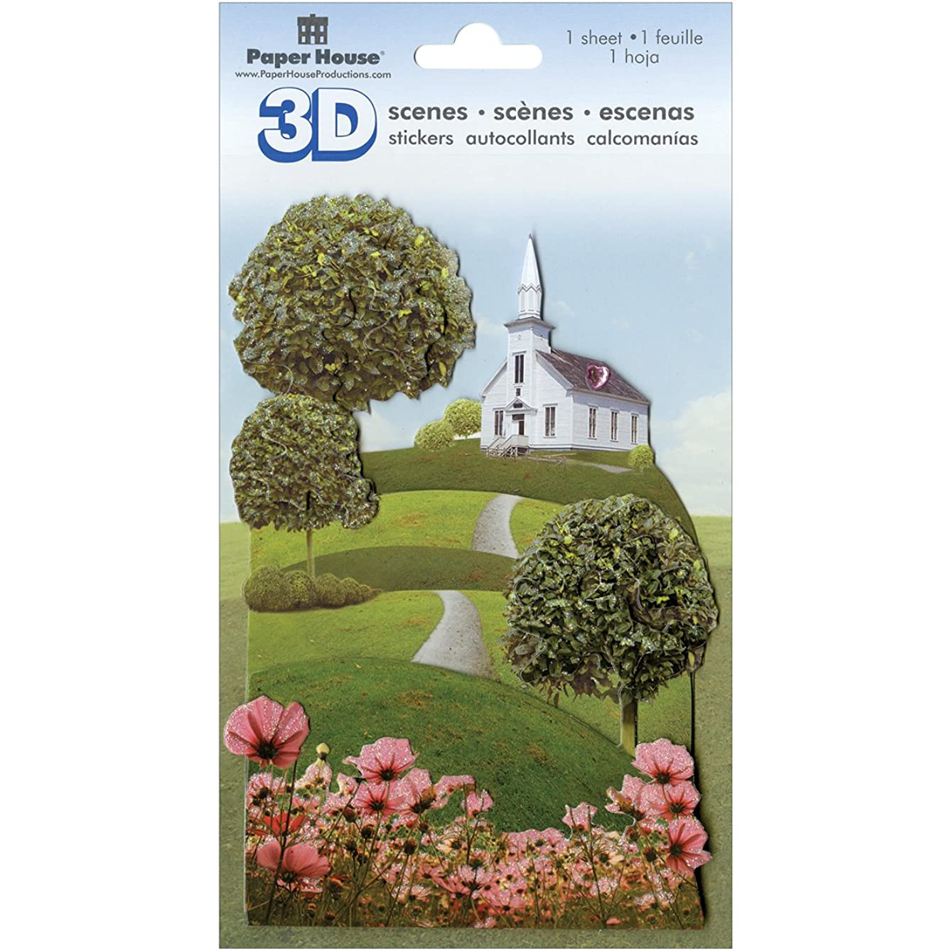 Paper House Productions - 3D Scenes - 3 Dimensional Cardstock Stickers with Glitter and Jewel Accents - Wedding Chapel