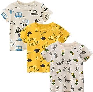 LAUSONS Pack de 3 camisetas de manga corta para niños, diseño de dibujos animados, cuello redondo