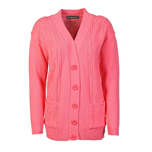 18de340423 Lets Shop Shop New Classic Womens Cardigan Ladies Sizes 10-20 Cable Knit  Long Sleeve