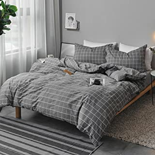 NANKO Queen Duvet Cover Set Gray, 3 Pieces 1200 TC Luxury Microfiber Down Comforter Quilt Bedding Cover with Zipper Closure, Ties - Best Organic Modern Style for Men and Women, Plaid