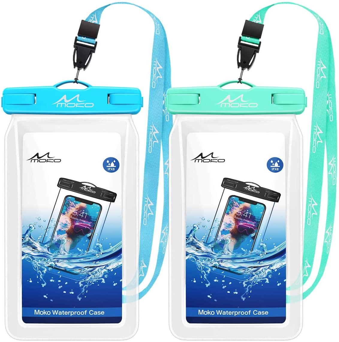 2 Pack X//Xs//Xr//Xs Max 8//7 Floatable Phone Case Dry Bag with Lanyard Compatible with iPhone 11//11 Pro Galaxy S10//S9//S8 //S10e//S20//Note 10 MoKo Floating Waterproof Phone Pouch