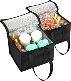 NZ Home Small Insulated Bag, Food Delivery Bag, Drink Carrier, Meal Delivery, Camping Cooler, Drink Tote & Coffee Carrier Bag, Hot & Cold Portable Insulated Tote Bag (2 Pack, Black)