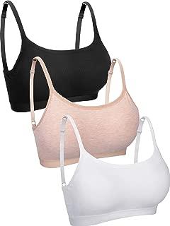 3 Pieces Mini Camisole Bra Wireless Padded Bra Tank Top Bra Seamless Sports Bra with Straps for Women Girls