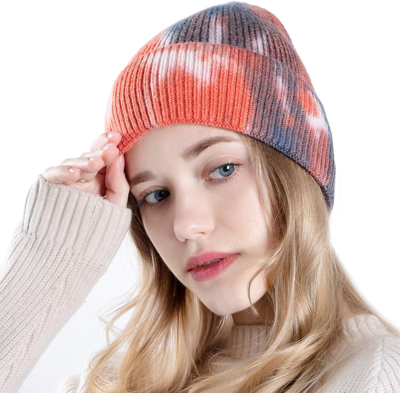 UIEGAR Tie Dye Beanie for Soft Women Winter Knitted Hat Skull Cap