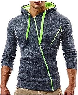 Halfword Men's Hooded Sweatshirts Zip Up Hoodies Casual Hoody Top Fleece Long Sleeve Plain Pullover Hoodie Sweater Cardigans