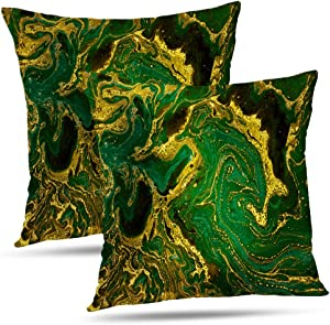 Lshtar Set of 2 Throw Pillow Covers, Marble Abstract Green Golden Waves Green Marble Gold Emerald Abstract for Sofa Cushion Covershort Plush Design Decoration Home Bed Pillowcase 18 x 18 Inch