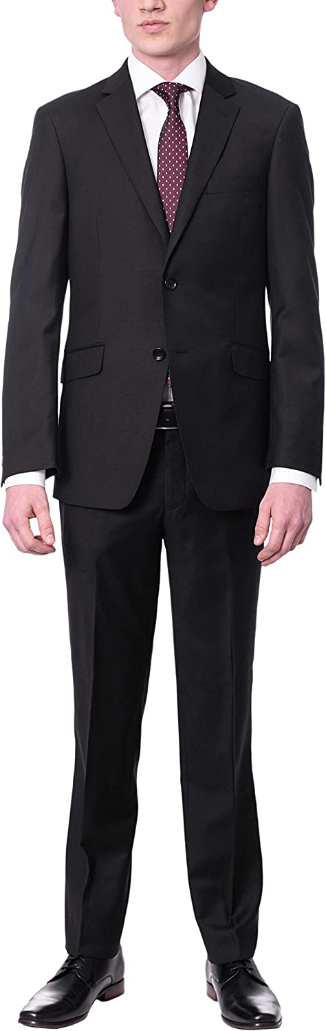 Label M Mens Extra Slim Fit Solid Color Two Button 100% Wool 2 Piece Suit