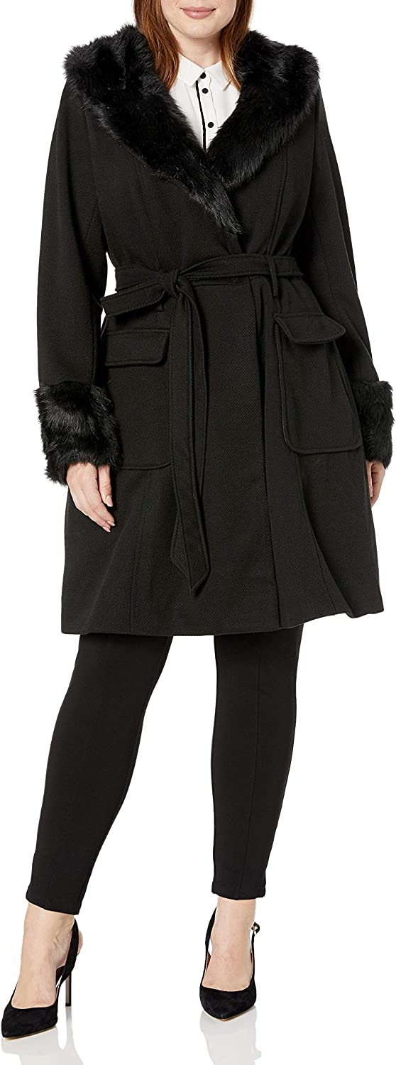 City Chic Women's Apparel Women's Tie Belt Coat with Faux Fur Trimmed Collar and Sleeve